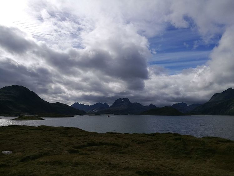 Landscape Mountain Scenics Mountain Range Awe Cloud - Sky Outdoors Sky Power In Nature Day Travel Destinations Lofoten Peaks Ominous Idyllic Power The Lofoten Islands Norway Nature Water Tranquility Clouds And Sky