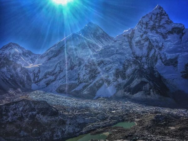 Sun over Everest Beauty In Nature Mountain Nature Tranquility Tranquil Scene Sunbeam No People Sunlight Scenics Landscape Mountain Range Travel Destinations