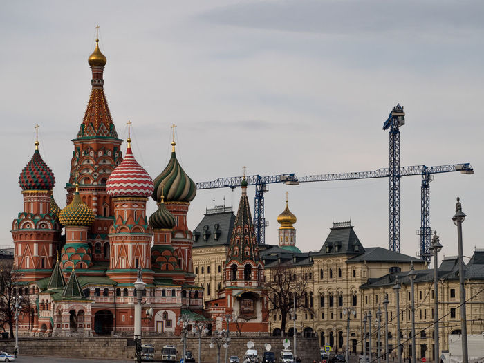 St basil cathedral in city against sky