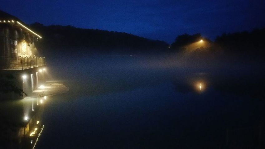 Branson Missouri Branson Landing Nightscape Fog On The Lake Lake Taneycomo White River No Edit/no Filter Smartphonephotography Cities At Night