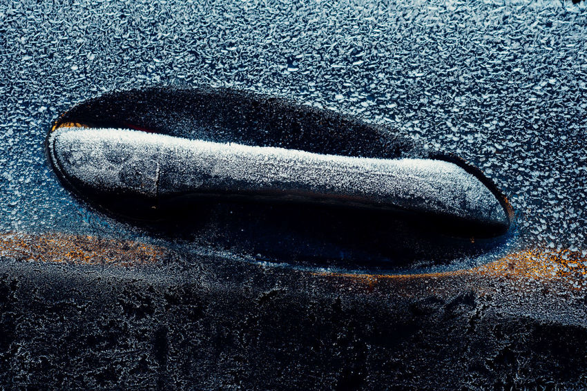Don't touch! Car Car Door Car Door Handle Close-up Cold Cold Temperature Day Door Handle Frozen Ice No People Reflection Winter Traveling Home For The Holidays