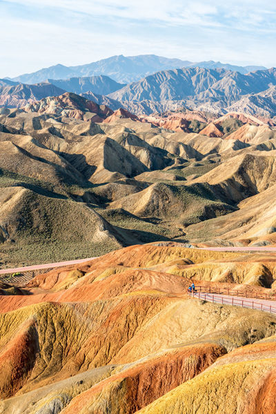 Many hues of brown, orange and more at the Zhangye Danxia Landform Arid Climate Arid Landscape Blue China Colorful Rocks Gansu Gansu Province High Angle View High Resolution Landscape Mountain Mountain Range Nature Orange Color Red Remote Sky Tranquil Scene Tranquility Travel Travel Destinations Traveling Zhangye  Zhangyedanxialandform