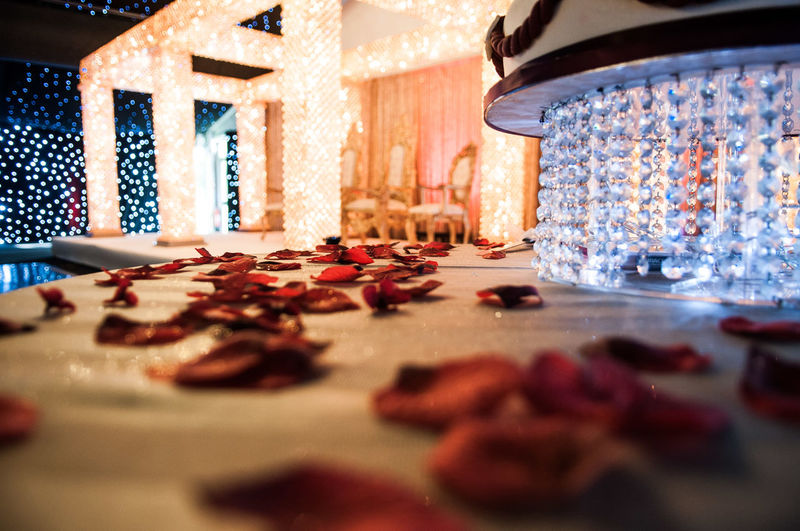 Rose petals on table during wedding