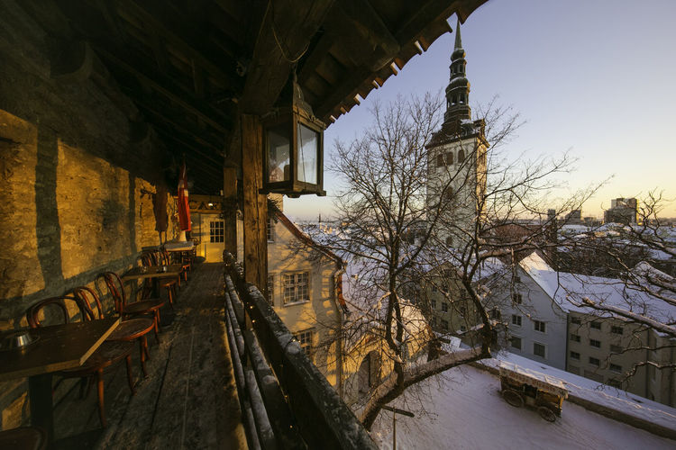 Architecture Bare Tree Building Building Exterior Built Structure City Cold Temperature Covering Estonia Frozen High Angle View House No People Residential Building Residential Structure Season  Snow Tallinn Tallinn Old Town The Way Forward Transportation Weather Winter