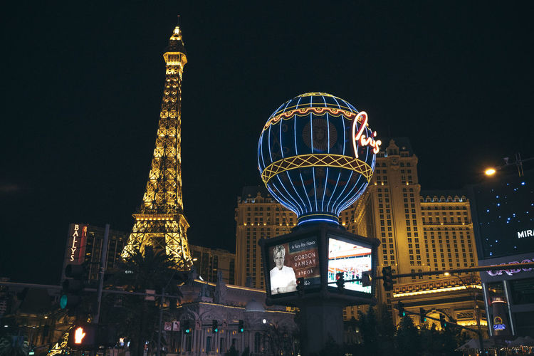Architecture Building Exterior Built Structure City Cityscape Clear Sky Gambling Illuminated Las Vegas Low Angle View Nevada Night No People Outdoors Sky Skyscraper Tall - High Tourism Travel Destinations