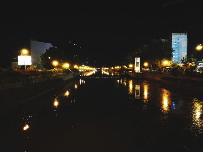 Spring nights, always a gift. |\/| Night Street Light City Water Reflection Architecture Sky
