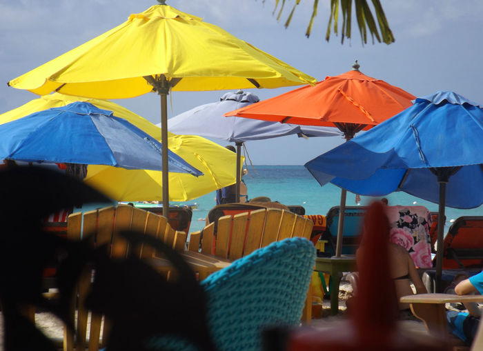 Beach Beach Umbrella Blue Bright Colors Day Depth Of Field Group Of Objects Horizon Over Water Jamaica No People Ocean Outdoors Palm Tree Protection Sea Summer Vacation Water Yellow