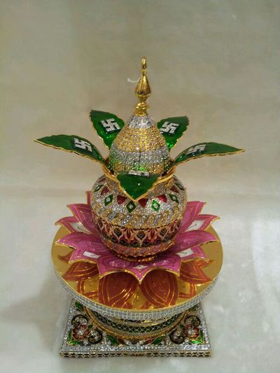 Pot Kalash Diamond STAND Lotus Gold And Silver Work Traditional No People Christmas Christmas Decoration Close-up Indoors  No Background Plain Background Good Luck Antique Antique Pot Small Pot
