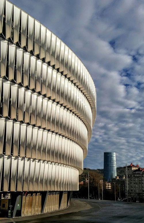 Vertical White Estadio San Mamés Stadium Bilbaoarchitecture Bilbao Architecture Built Structure Cloud - Sky Building Exterior Sky Modern Travel Destinations No People Day City Outdoors