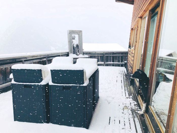 High angle view of snow on building during winter