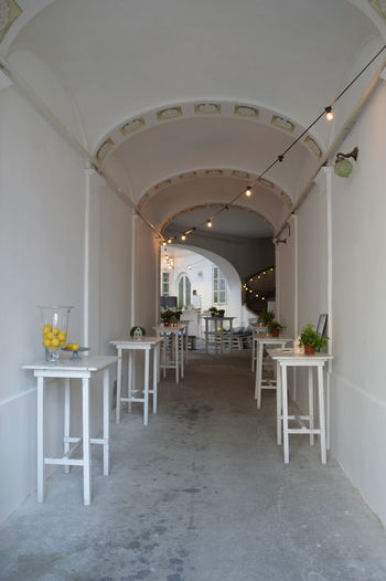 Tables in corridor at home