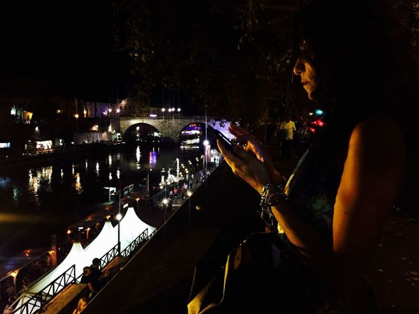 Night Taking Photos Illuminated Reflection Water Dark City Life Young Adult Nightlife Tourism Vacations Lungotevere Hello World Notte Donna