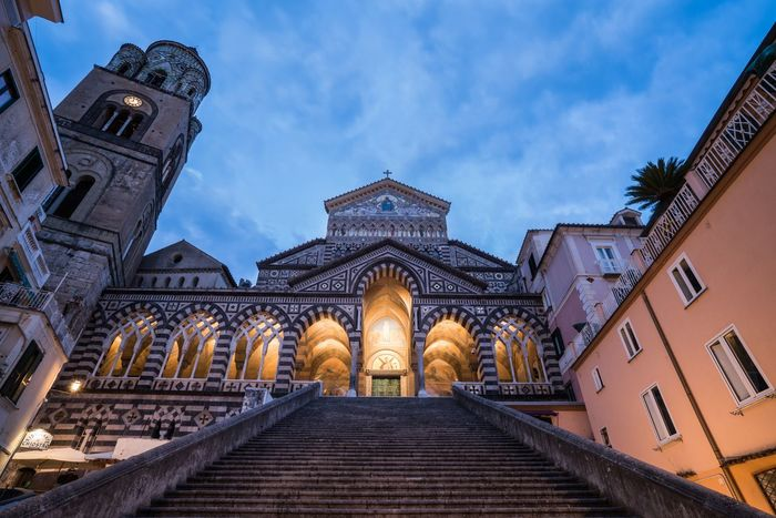 Perspective 1 Blue Hour Duomo Di Amalfi Italy Bella Italia Amalfi Coast Amalfi  EyeEm Selects Architecture Built Structure Building Exterior Sky Religion Building Belief Cloud - Sky Place Of Worship Spirituality Low Angle View Travel Destinations Illuminated Travel Outdoors