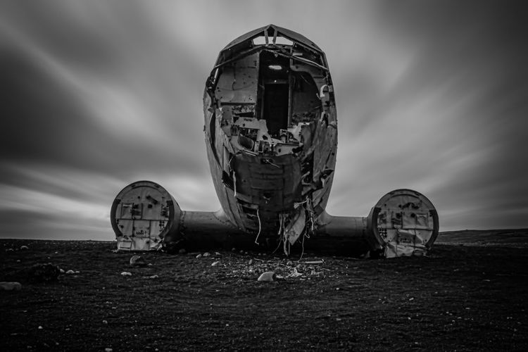 Airplane Wreck in Iceland Airplane Airplane Wreck Beach Black And White Black And White Photography Black Beach Black Sand Black Sand Beach Iceland Long Exposure No People Sky South Iceland Wreck First Eyeem Photo