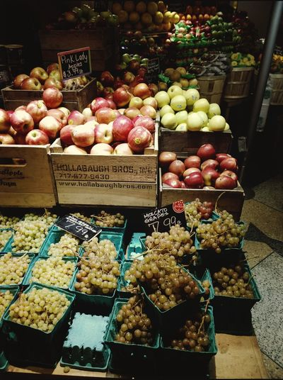 Fruit Market Abundance NYC Grand Central Market Fruits Colorful Bins Apples Grapes