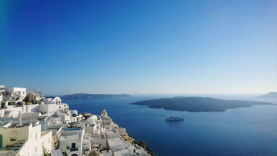 Architecture Blue Sea Building Exterior Sunny High Angle View Water Clear Sky Nautical Vessel Harbor Travel Destinations Summer Day Sky Santorini, Greece PicturePerfect Ships🚢 Tranquility