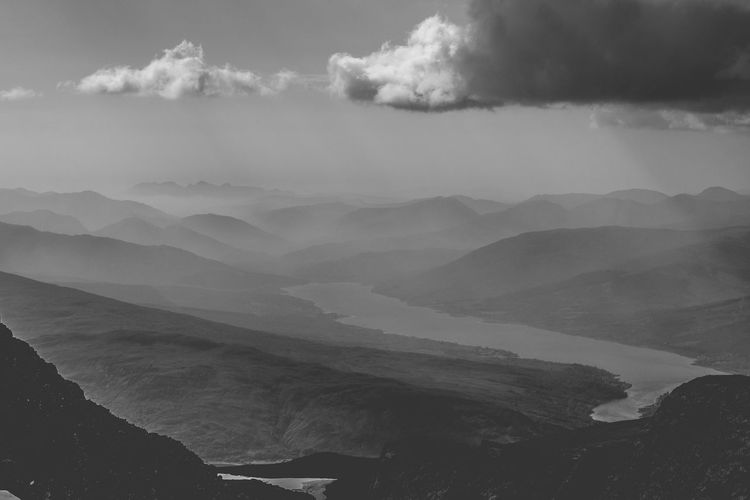 From the top of Nevis - 1. One of my first hiking experiences. Beauty In Nature Ben Nevis Black And White Black And White Photography Cloud - Sky Feel The Journey Landscape Majestic Mountain Mountain Range Mountain View Nature_collection No People Non-urban Scene Outdoors Overcast Physical Geography Rays Remote Scenics Sky The Great Outdoors - 2016 EyeEm Awards Tranquil Scene Valley View From The Top An Eye For Travel The Great Outdoors - 2018 EyeEm Awards British Culture
