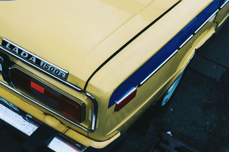 The Drive LADA Transportation Car High Angle View No People Close-up Germany Old Car Classic Car Berlin Yellow Soviet Era