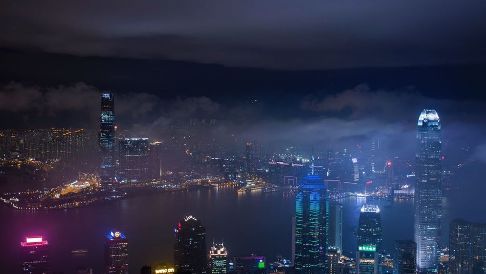 City of Fog HongKong City Cityscapes Harbour International Architecture Building Night Fog Foggy Weather