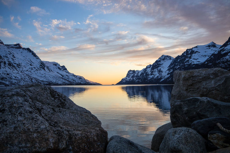 Fjord sundown in Norway Beauty In Nature Calm Cloud Cloud - Sky Fjord Idyllic Majestic Mountain Range Nature No People Non-urban Scene Norway Outdoors Reflection Remote Rock Rock Formation Scenics Sky Sunset Tranquil Scene Tranquility Travel Water Weather