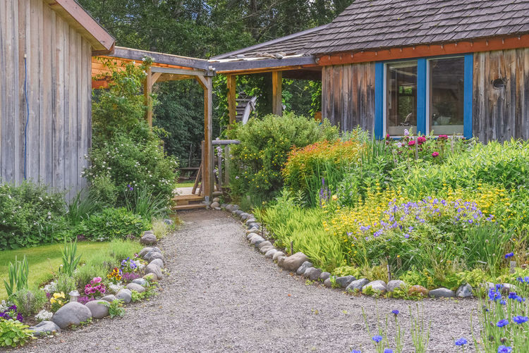Keremeos, British Columbia/Canada - June 3, 2017: beautiful garden path at the entrance to The Grist Mill and Gardens Keremeos, an important heritage site dating to 1877. 1800's 1877 Afternoon Beautiful Bright British Columbia, Canada Garden Path Similkameen Valley Sunlight The Grist Mill And Gardens Keremeos Travel Buildings Colorful Editorial  Flowers Gardens Heritage Site Historic Site June Keremeos Museum Outdoors Restaurant Spring Tourism
