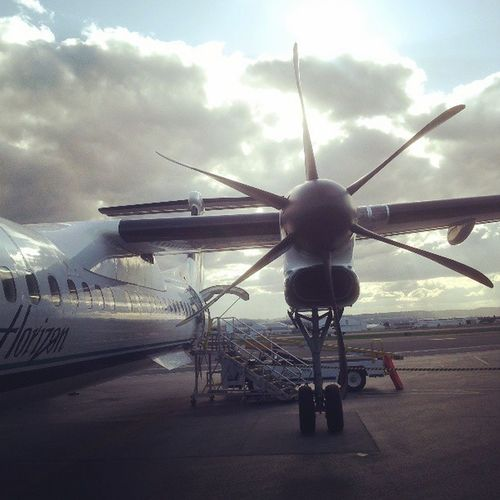 Portland to Oakland. These propeller planes are too bumpy.