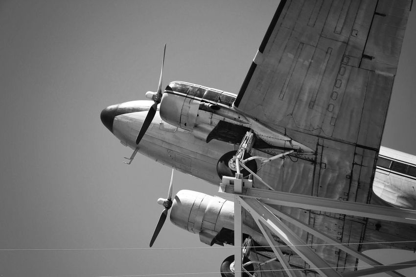 Air Vehicle Transportation Low Angle View Men Airplane Day Outdoors Real People Sky Blackandwhite Photography Blackandwhite