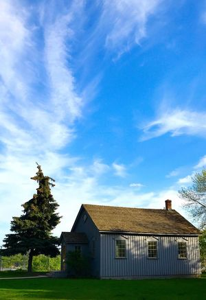 Sky Cloud - Sky Architecture Built Structure Building Exterior Tree No People Day Outdoors Field Landscape Nature Grass IPhone 7Plus IPhoneography One Room Schoolhouse Prairie