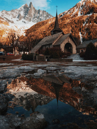 Architecture Bridge - Man Made Structure Built Structure Chamonix-Mont-Blanc Church Day France History Landscape Mountain Mountain Range Nature No People Outdoors Place Of Worship Reflection Scenics Sky Snow Sunset Tradition Travel Travel Destinations Water