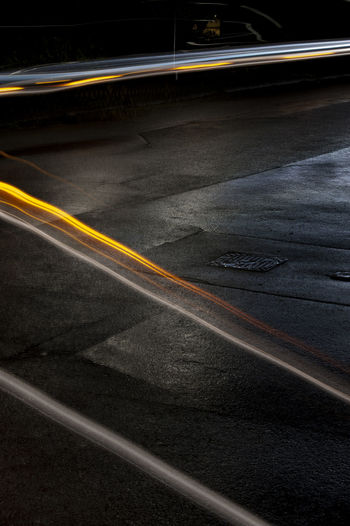 Asphalt Car Lights Painting Light Trail Long Exposure Night No People Outdoors Road Street Traffic Transportation