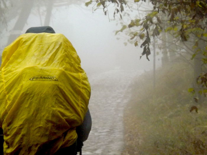 Bag Day Ferrino Fog Foggy Nature Outdoors Real People Walking Water Way Wet Yellow Let's Go. Together.