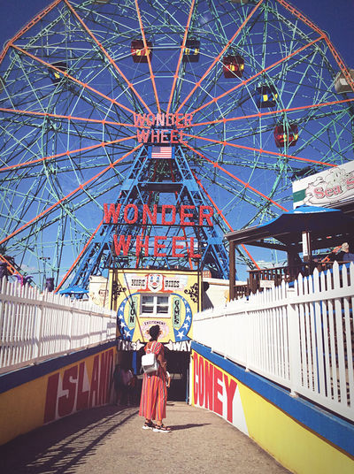 Rear view of woman standing at amusement park