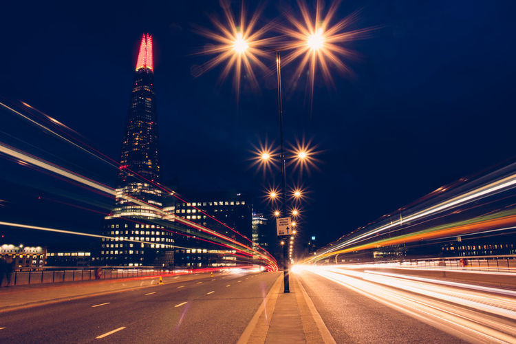Light Trails On Street By Shard During Night