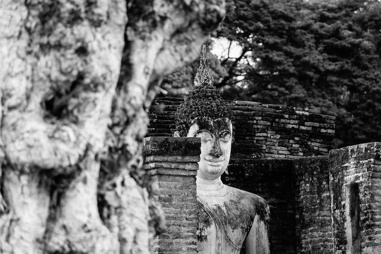 Happy Buddha Angle Black And White Black And White Photography Blackandwhite Buddha Buddha Statue High Contrast High Contrast Bnw No People Outdoors Place Of Worship Religion Sculpture Spirituality Spirituality Statue Temple