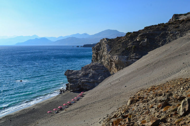 Sandy hills Creta Crete Grecia Greece Sand Dunes Umbrella Beach Umbrellas Beach Nature Sea Water Outdoors Scenics Beauty In Nature The Great Outdoors - 2017 EyeEm Awards