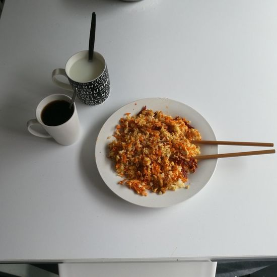 Breakfast ♥ Fried Rice Carrots Sundried Tomato Walnut Egg Coffee Banana Milk Teaspoon Studio Shot Table Healthy Eating Food And Drink Food Freshness Indoors  No People Breakfast Gray Background Quality Ready-to-eat