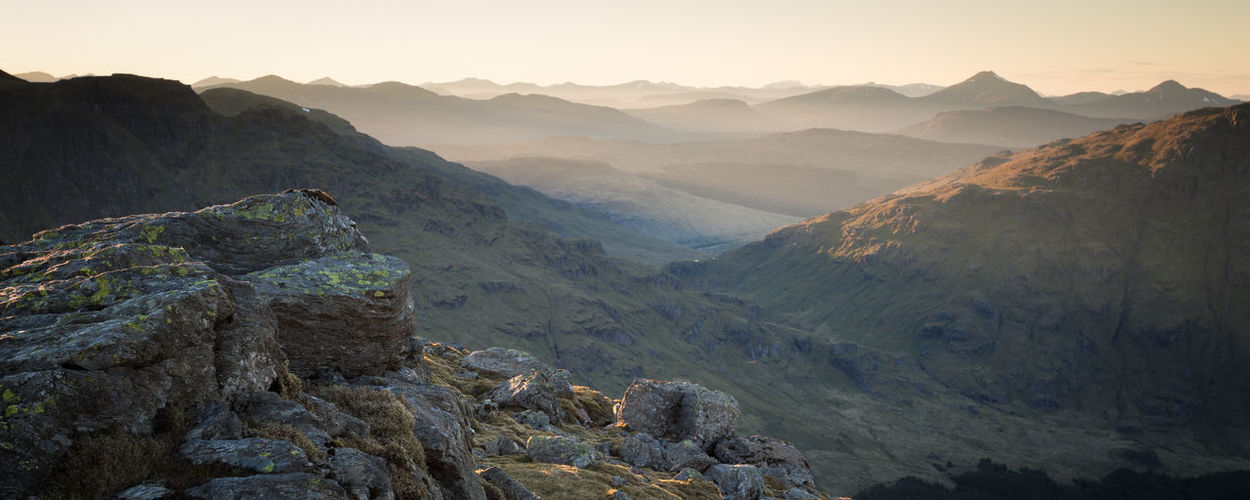 Sea of Mountains Ben Narnain Golden Hour Hills And Valleys Landscape Mountain Range Mountains Rays Scotland