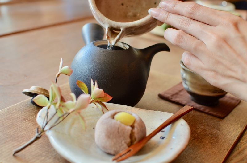 Autumn Bowl Chopsticks Close-up Day Fall Food Food And Drink Freshness Green Tea Healthy Eating Human Body Part Human Hand Indoors  One Person People Real People Sweet Food Table Tea Time