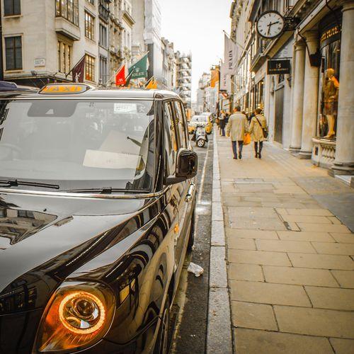 New electric London taxi on Bond Street, London Car taxis London Street shopping
