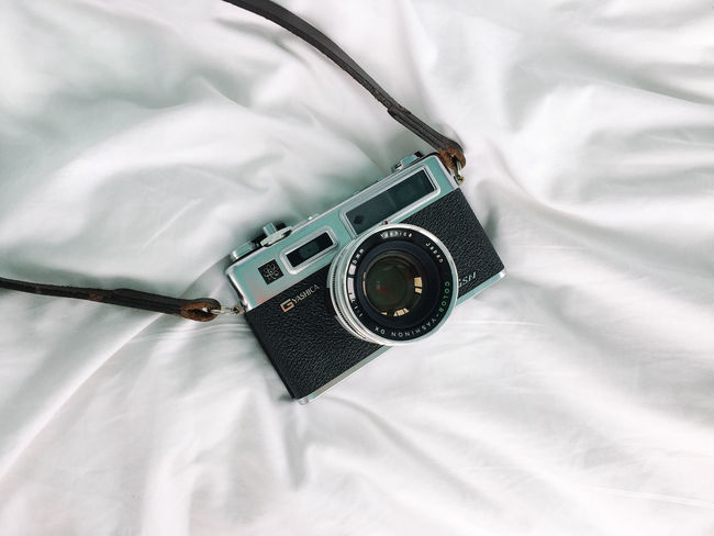 Analogue Photography Camera Yashica Yashica Electro 35 GSN Bed Bedroom Camera - Photographic Equipment Close-up Day Film Photography High Angle View Indoors  No People Sheet Still Life