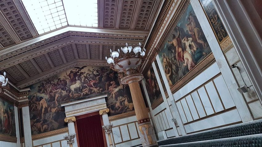 The Academy of Athens Interior Neoclassical Indoors  Paintings Decoration Neoclassical Architecture Athens, Greece International Landmark Low Angle View City Statue Architecture Building Exterior Built Structure Sky