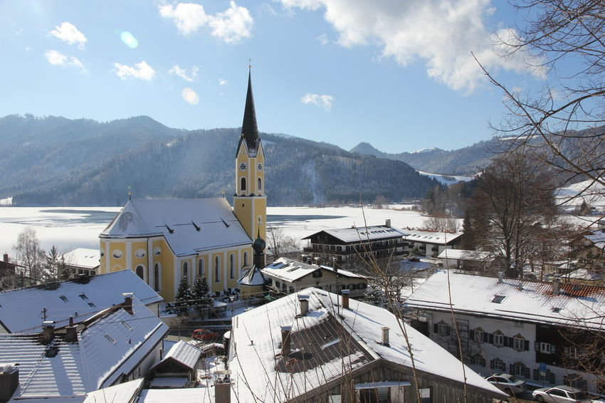 Schliersee Berge,Winter, Kirche Schönes Wetter Winter Bayern Blauer Himmel Scenics See, We're Flying Over The Alps : Beauty Tourismus Winterlandschaft