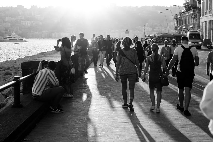 Black & White Friday Hanging Out Having Fun Long Shadows Napoli Walking Around Black And White Black And White Friday City Crowd Day Enjoyment Front Light Large Group Of People Leisure Activity Lifestyles Monochrome Neaples Outdoors People Real People Seafront Simple Moments Sun Light Togetherness EyeEmNewHere