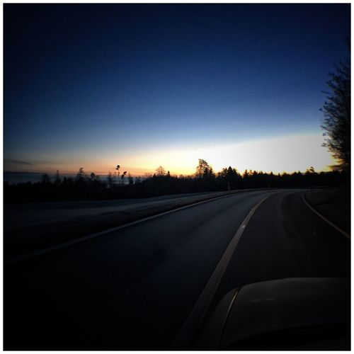 Car Transportation Sunset Road Land Vehicle No People Clear Sky Silhouette Sky Tree Nature Outdoors Beauty In Nature Day