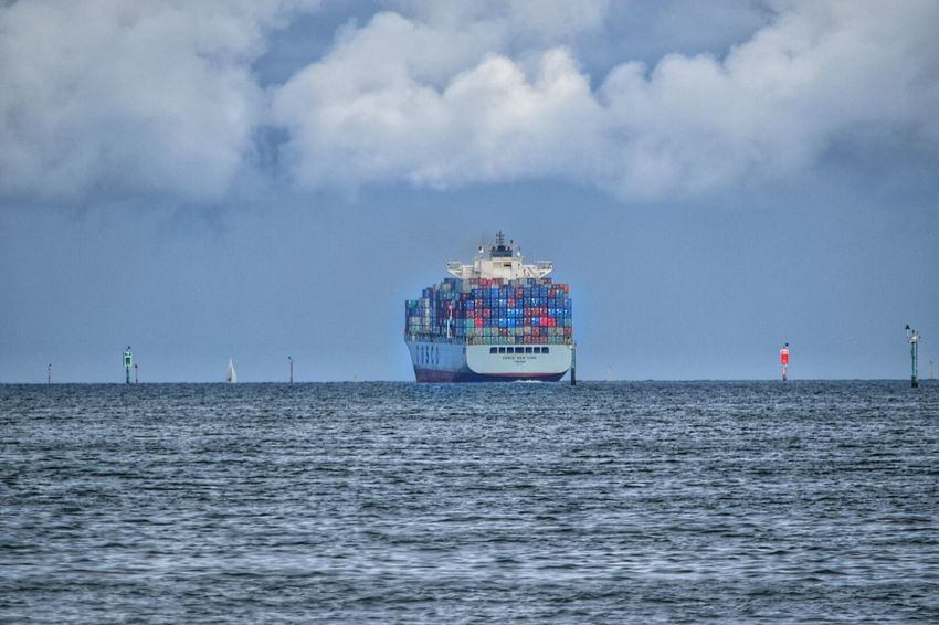 Container Ship Transportation Water Nautical Vessel Waterfront Sea Transportation Horizon Over Water Mode Of Transport Boat Cloud - Sky Tranquility Scenics Sky Ocean Blue Journey Seascape Sailing Ocean Bound  Sea Going Melbourne Australia Outdoors Calm