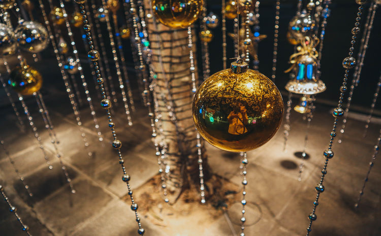 Close-up of christmas decoration at night