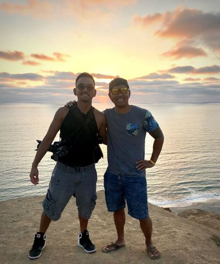 sunset at Torrey Pines on August 5th Cliffside Cliffs And Sea Cliffs Watching Sunsets On The Cliffs Clouds And Sky Seascape Sculpture Scenic Sunset Backgrounds Sunsets Chasing Sunsets Silhouette Best Friends Oceans And Seas Sunset Torrey Pines August 2017 With My Best Friend Watching Sunsets La Jolla Shores San Diego Front View Horizon Over Water Beauty In Nature Happiness Looking At Camera Two People Sea Beach