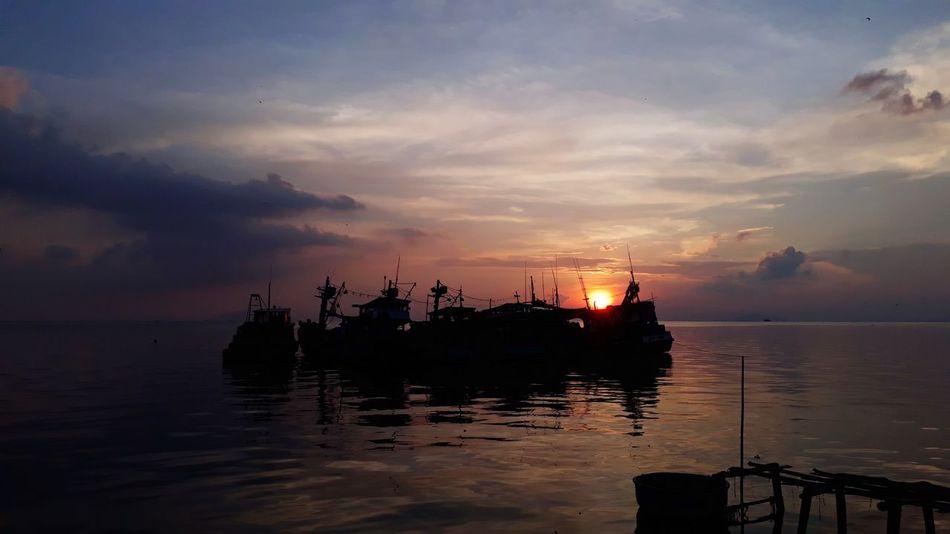 Water Nautical Vessel Sea Sunset Silhouette Shipyard Reflection Beach Sky Horizon Over Water