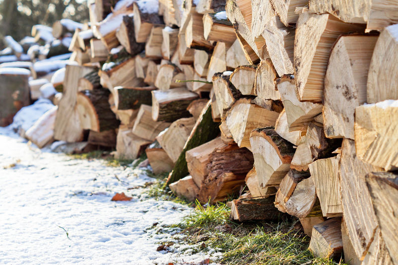 Close-up of stack of wood during winter