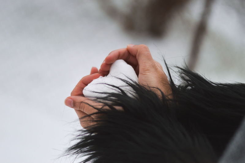 Cropped Hands Of Woman Holding Heart Shape Snow On Field